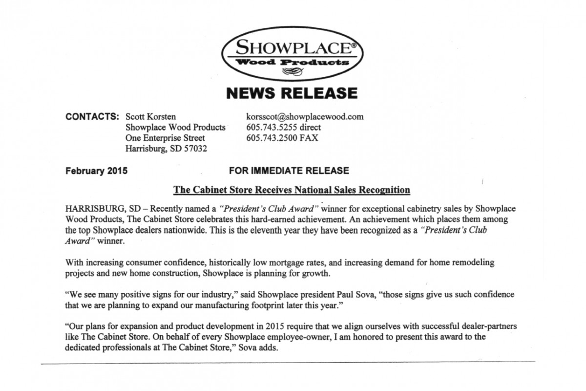 "National ""Presidents Club Award"" Recognition for The Cabinet Store by Showplace Wood Products"