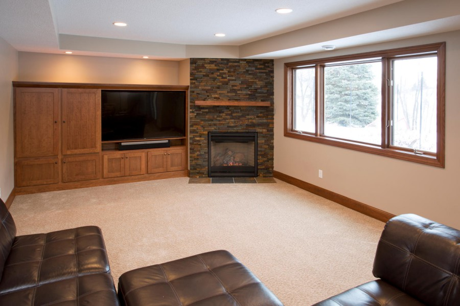 Custom built-in entertainment center.