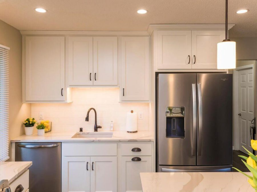 White kitchen remodel with cambria counterops