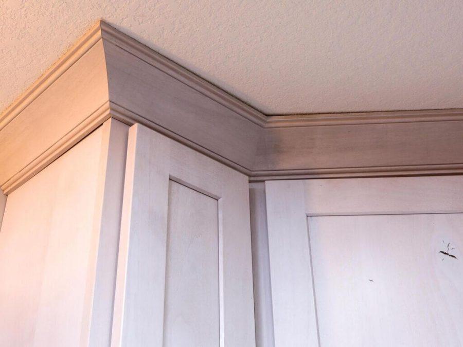 two tone kitchen cabinet detail